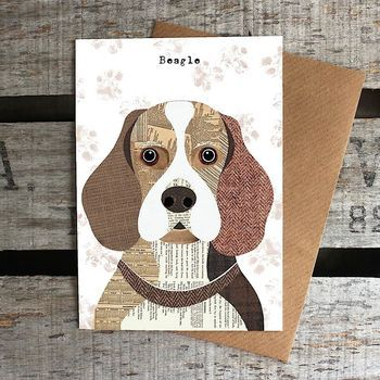 Beagle Dog Card ... print of collage by Simon Hart ... original used traditional harris Tweeds and Vintage papers ... luv the serene expression on its face ...