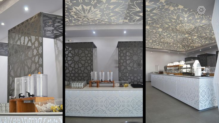 INTERIOR DESIGN - SUSPENDED CEILING - LIGHTING - ΔΙΑΚΟΣΜΗΣΗ - ΨΕΥΔΟΡΟΦΗ - ΦΩΤΙΣΜΟΣ  Bar covering made of perforated aluminium with a unique pattern. Life is in the details. Metalaxi Innovative Architectural Products. www.metalaxi.com