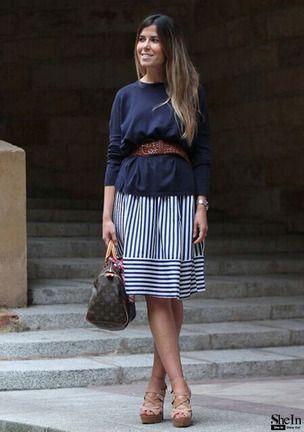 Синяя полосатая юбка