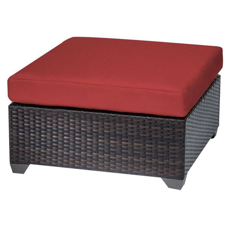 TK Classics Belle Wicker Outdoor Ottoman - Set of 2 Cushion Covers Sesame / Wheat - TKC010B-O-SESAME