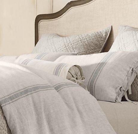Image result for restoration hardware grain sack stripe bedding