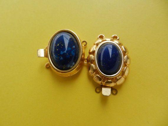 Clasps for jewelry Vtg 1960Lapis lazuli & gold by RAKcreations