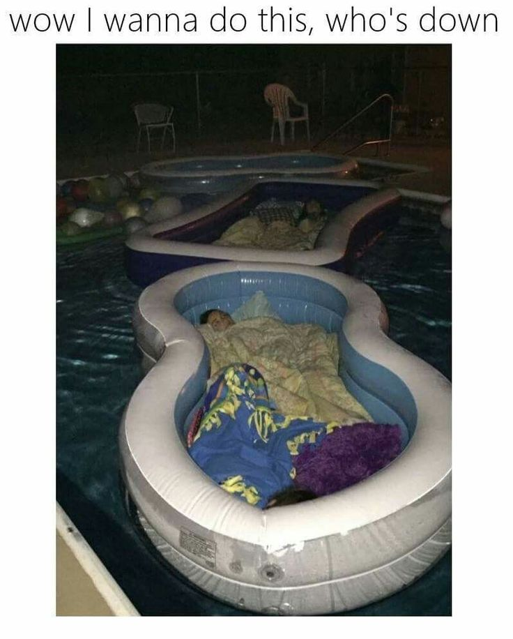 My daughter had a summer party & used half-priced blow-up pools as waterbeds in our big pool!--a terrifying but clever idea.