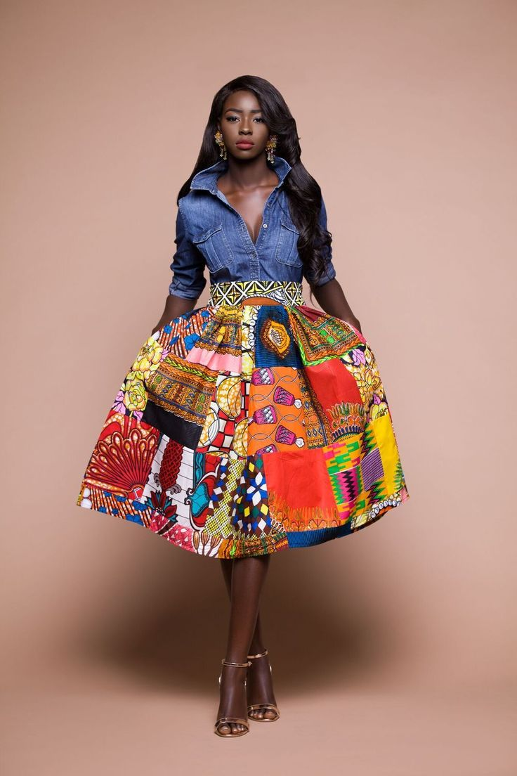 African print folabi patchwork midi skirt