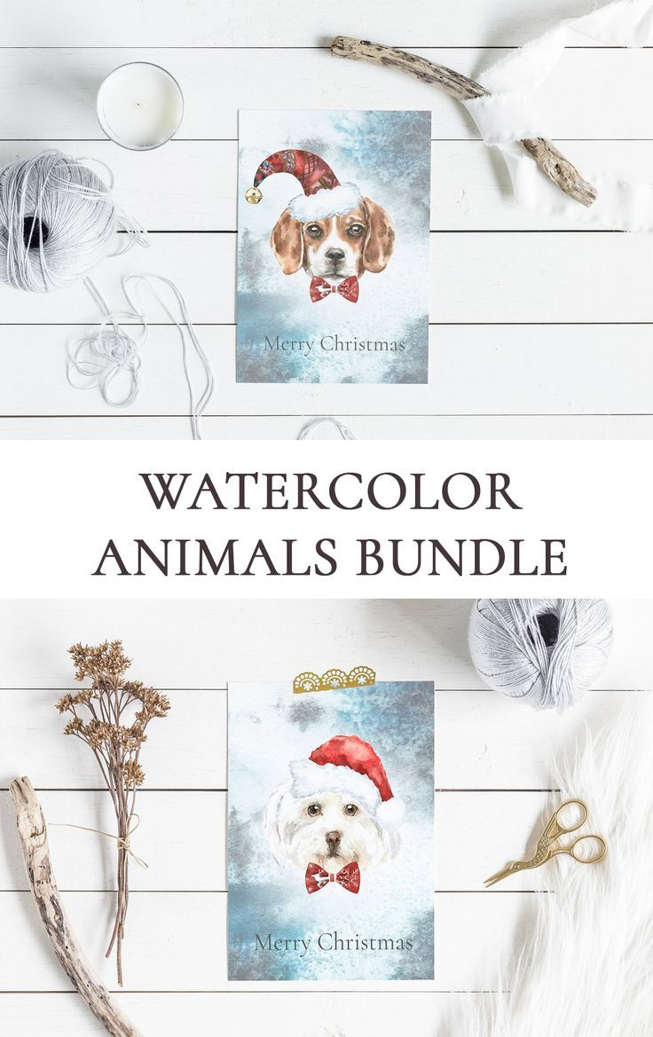 Watercolor Animals Bundle 13in1 Watercolor Christmas Woodland
