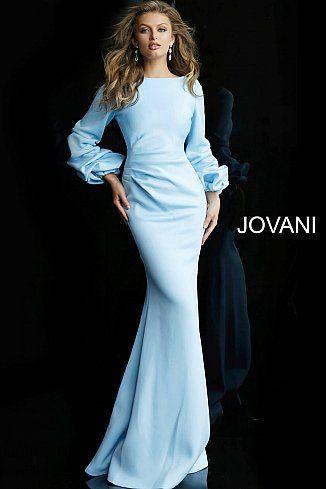 85c04519c87 Light Blue Long Sleeve Ruched Waist Evening Dress 63447