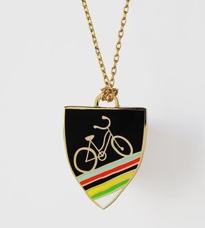 Enamel Bicycle Necklace