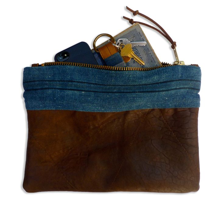 African indigo and leather pouch.