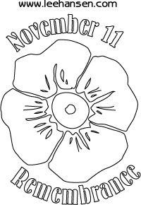 remembrance day poppy colouring sheet