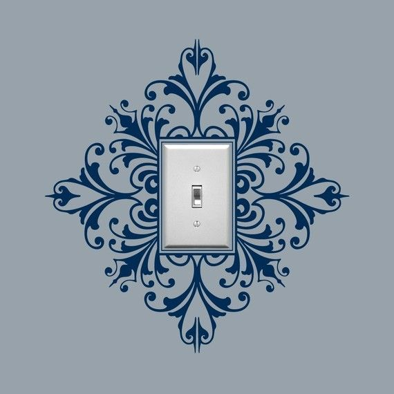 Vinyl Wall Decal, Scroll Damask Light Switch Embellishment (etsy $8.00/single) - many colors available