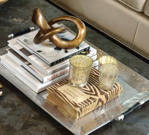 Featured / pictured in article: coffee table, styled; living room; sofa; candle; flowers; interior design book; tray, knot, box, bowl, glass ball, etc. decor | Styling: interior designer Carla Aston