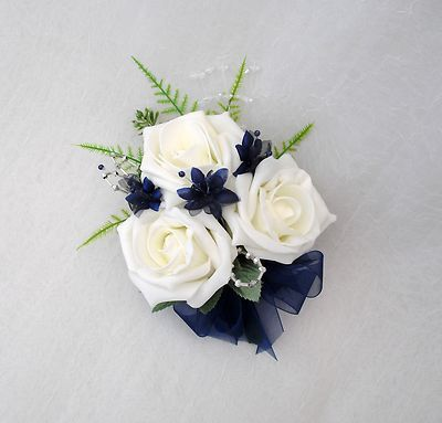 navy & champagne bridal bouquet | WEDDING FLOWERS - LADIES CORSAGE IN IVORY ROSES WITH NAVY BLUE AND ...