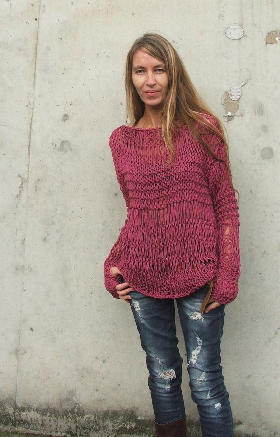 Dusky Dark Pink ECO cotton / loose knit / grunge por ileaiye