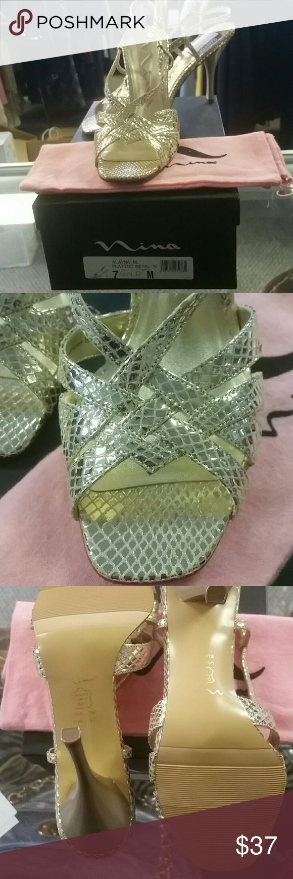 Nina shoes Gold strap slingback shoes. Worn once on carpet. Comes with pink dustbag. Nina Shoes Heels