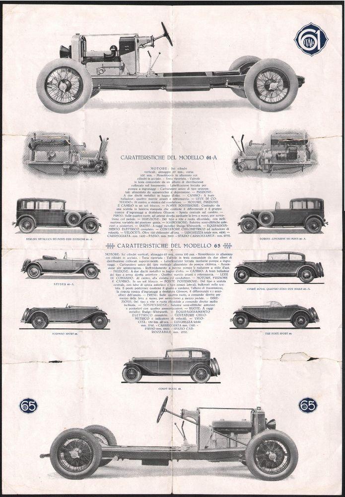 Pubblicità-auto d'epoca-Dépliant Itala-Modello 61 A-Modello 65-L 4561