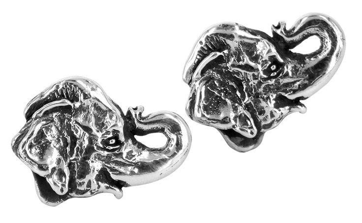Elephant cufflinks in sterling silver
