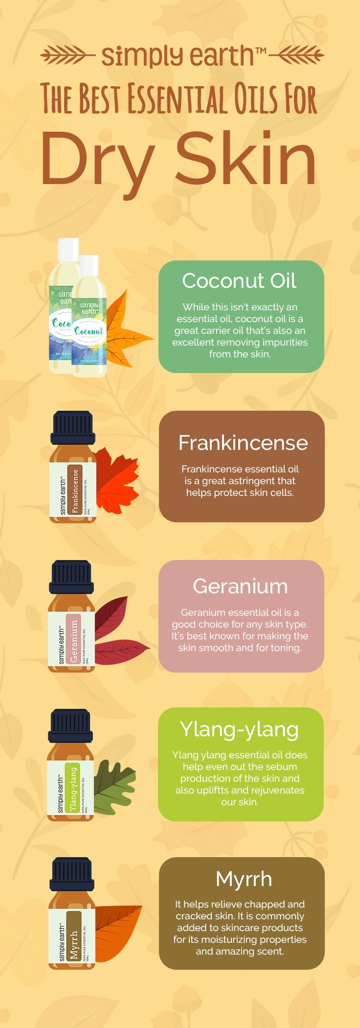 Dealing with dry skin can be difficult as you don't know what causes it. It often leads to itching, irritation and even cracking! Yikes! It can also cause premature wrinkles and fine lines on the face - something almost everyone is trying to avoid. Check out our blog to know the BEST 5 Essential Oils for Dry Skin!