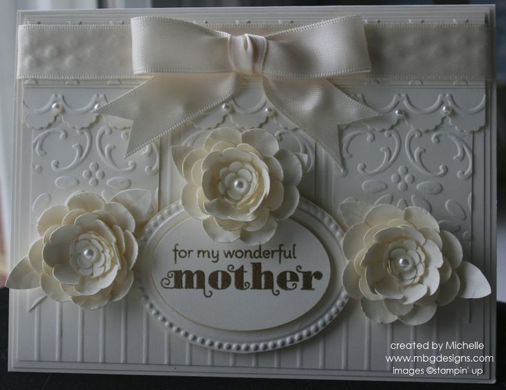 Monochromatic Mother's Day card: Punch Art Cards, Mothers Cards, Wedding Cards, Cards Ideas, Cards 11, Monochromatic Cards, Mothers Day Cards, Wonder Mothers, Monochromatic Mothers
