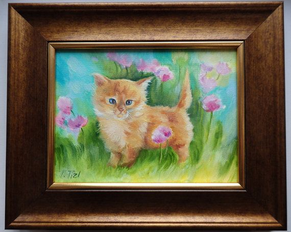 CAT PORTRAIT Original Oil Painting on canvas by CanisArtStudio