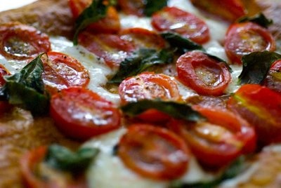 The Kitchy Kitchen: PUFF PASTRY PIZZA WITH BURRATA, CHERRY TOMATOES AND BASIL