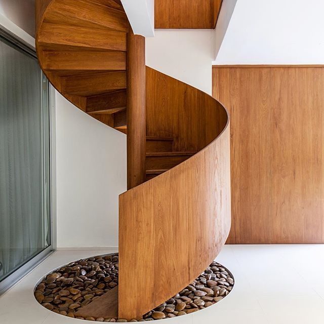 Wooden Spiral Staircase In Bangkoks Navamin Residence By Hypothesis Design Agency
