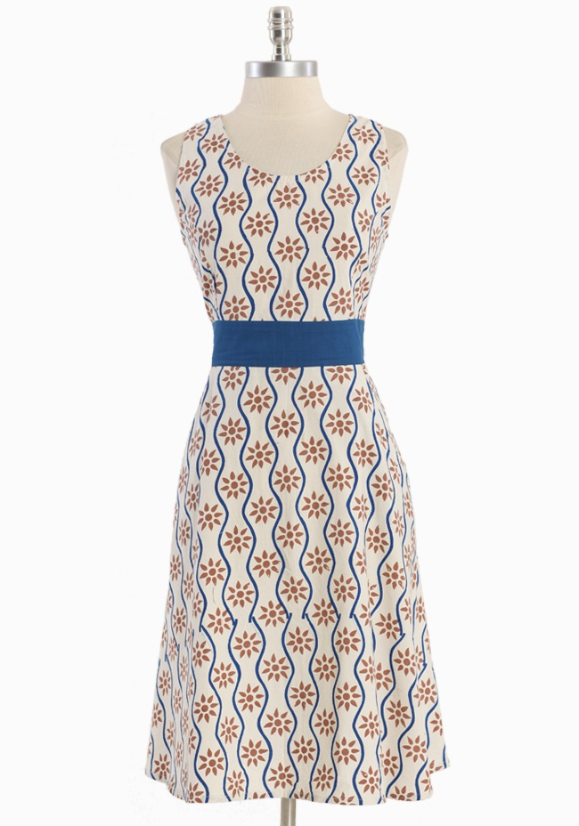 """Dahlia Printed Dress By Mata Traders 62.99 at shopruche.com. Hand-crafted in crisp cotton, this playful cream dress by Mata Traders is perfected with a sweet brown and blue hand block print, front pockets, and a flattering fitted waist. Finished in a classic silhouette with a back zipper closure and a racer-styled back.100% Cotton, Fair trade imported, 40"""" length from top of shoulders, 34"""" bust, 30"""" w...: Summer Dresses, Prints Dresses, Dahlias Dresses, Mata Trader, Dahlias Prints, Clothing, Cute Dresses, Printed Dresses, Cream Dresses"""