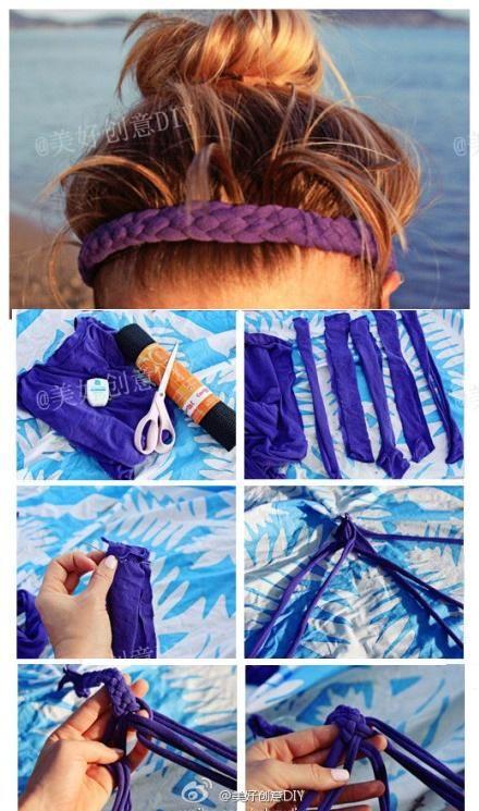 DIY Braided Headband Idea Usar medias viejas o tela para hacer tu propia diadema trenzada