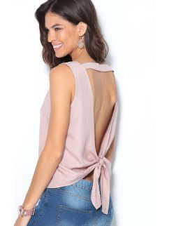 Blusa sin mangas de mujer con lazada en la espalda