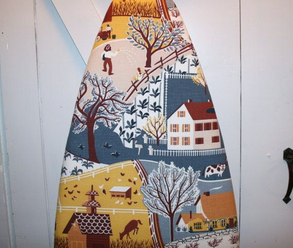 Vintage Barkcloth Farmhouse Ironing Board Cover by VintageLinenDelights.Etsy.com