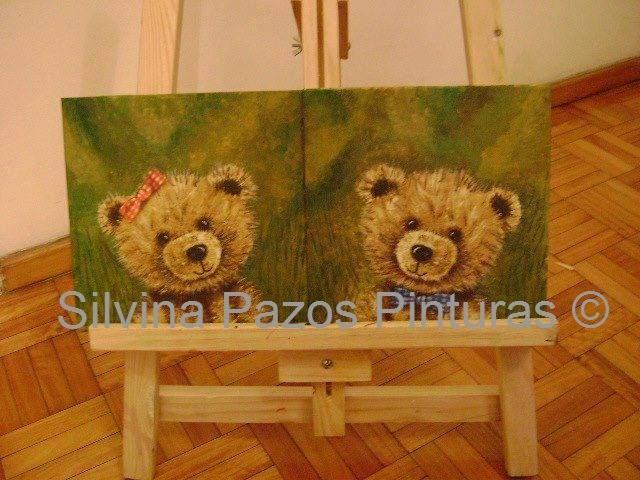 Duo de osos Acrílicos en cartón entelado 20x20