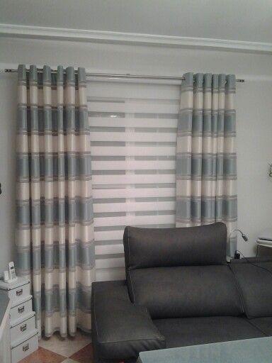 cortinas salon con estore noche y dia en blanco - Cortinas Salon