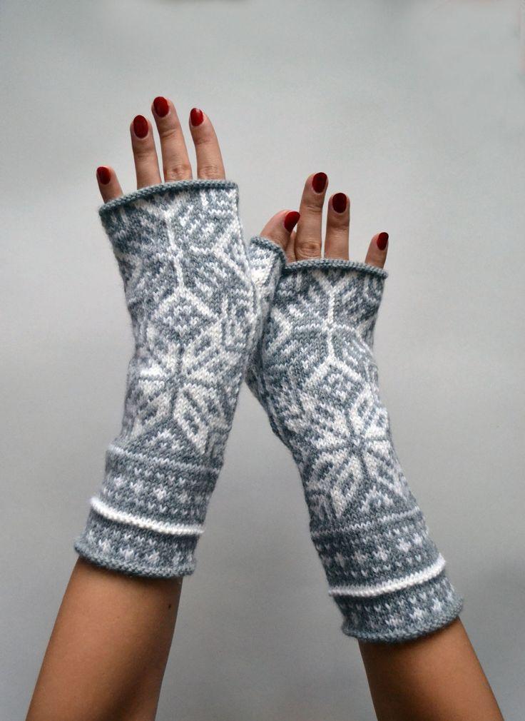 Nordic Gray Fingerless Gloves - Wool Fingerless Gloves - Scandinavian Gloves - Long Fingerless Gloves - Gift - Boho Fingerless- Women nO 60 by lyralyra on Etsy