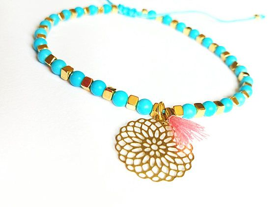 Boho turquoise anklet with a tiny blush tassel