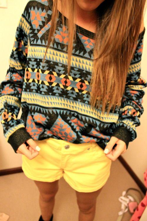 Aztec sweater. Yellow shorts