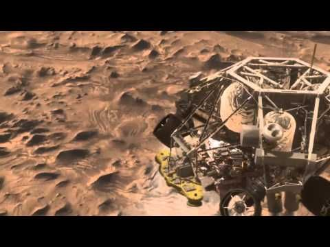This is an animation from the Mars Science Laboratory of it's rover, Curiosity. Weighing in at 1 ton, this 10 ft long, 9 ft wide rover, currently traveling at 25,000 miles per hour, is expected to land on Mars in August, just about 60 days from now. It's mission is to determine if microbial alien life could, or ever did, exist on the Red Planet.