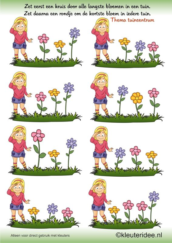 Zoek de langste en kortste bloem , thema tuincentrum, juf Petra van kleuteridee ,search the longest and shortest flower, free printable.