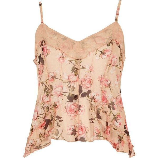 River Island Pink floral print mesh frill cami top ($48) ❤ liked on Polyvore featuring tops, shirts, cami / sleeveless tops, pink, women, red tank top, tall shirts, mesh shirt, pink floral shirt and floral tank top