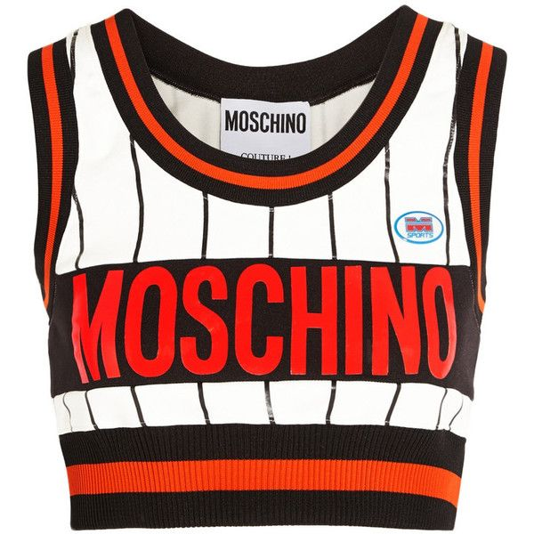 Moschino Cropped printed stretch-jersey top ($180) ❤ liked on Polyvore featuring tops, shirts, moschino, crop tops, white, white shirt, logo shirts, white top, crop top and moschino shirt