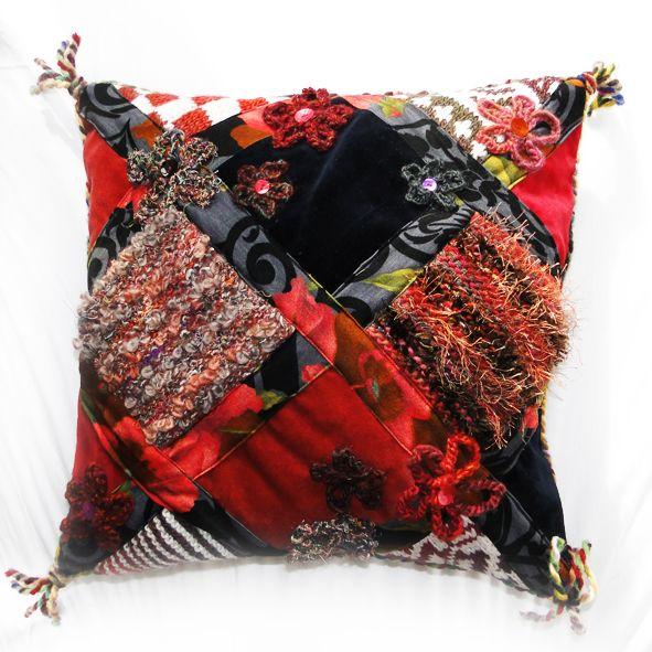 Exotic Velvet Cushion - Red Winter Berries Trellis