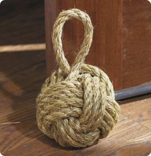 """DIY  rope knot doorstop for $15  materials needed: tennis ball, 1500 BBs (to add weight), 10ft. of 3/8"""" diameter manila, exacto knife, drill, hot glue"""