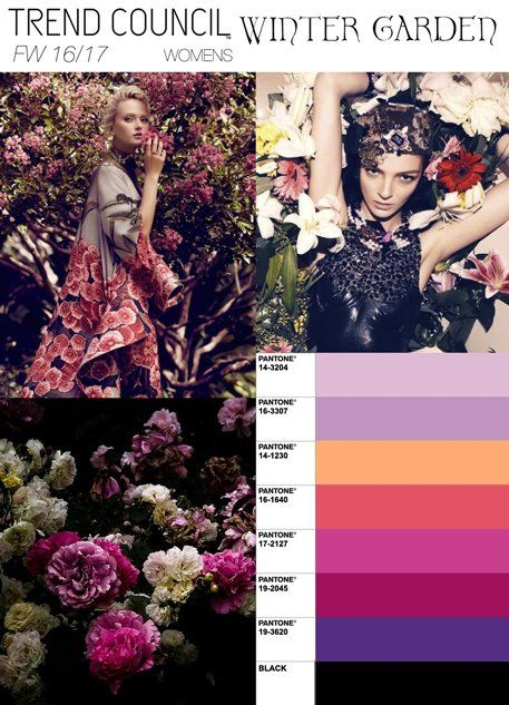 Rich romantic floral motifs continue to be a major inspiration even in the colder months. We enter the warmth of the darkened hot house to find fragile flora beaming with exotic excitement. The palette draws from antique varieties of English roses with both violet and peach tones predominant. Materials capture floral motifs through richly printed velvet burnouts as well as 3-D chiffon sculptured flowers.