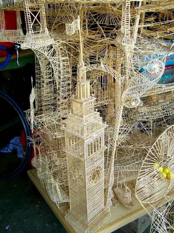 """""""Rolling Through the Bay"""" is a sculpture made of toothpicks created by Scott Weaver.  http://www.pondly.com/category/concept-art/page/3/"""