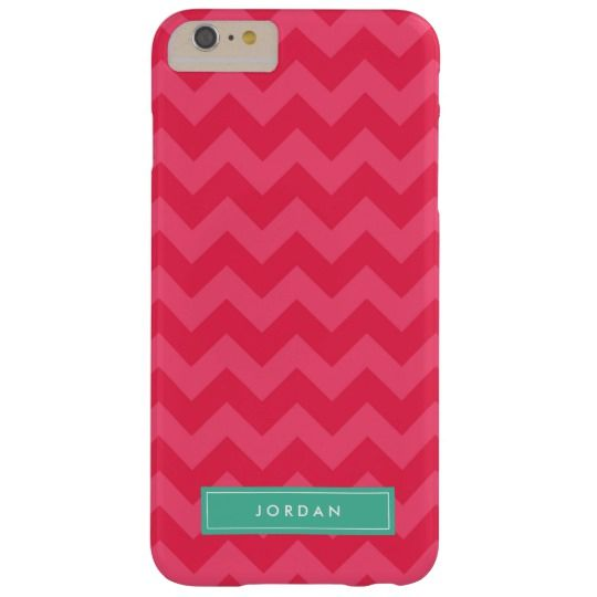 Preppy Vibrant Pink Chevron Monogram Barely There iPhone 6 Plus Case by Rosewood and Citrus on Zazzle