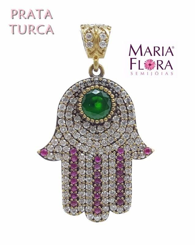 pingente prata turca 925 mao de fatima jade e rubi