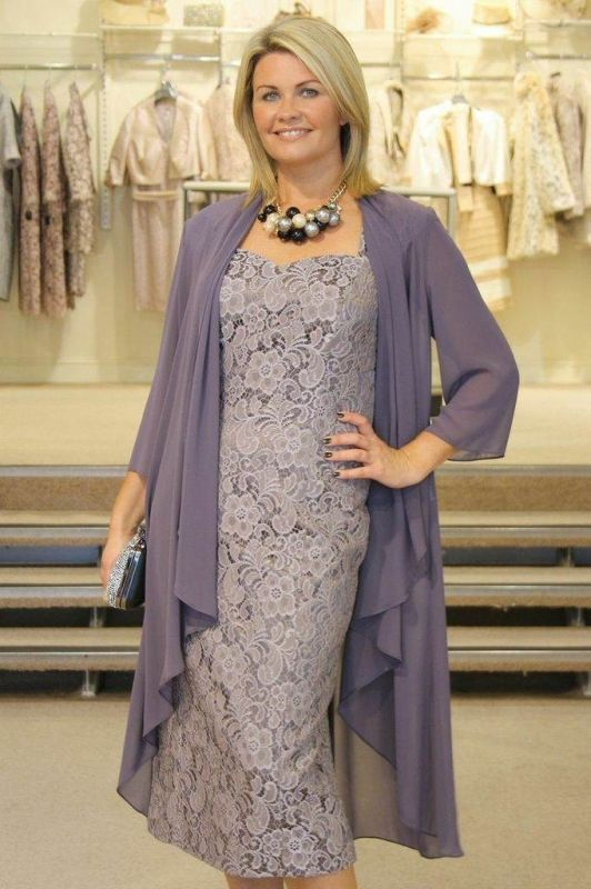 2015 Elegant Mother OF THE Bride Dress Gray Lace With Chiffon Jacket Custom Made | eBay