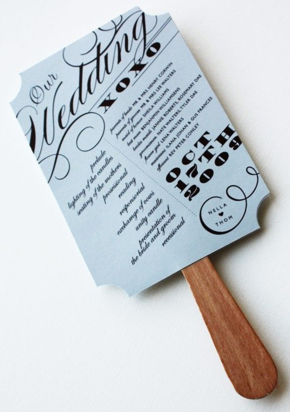 wedding program fan by baumbirdy - In the event that I get married somewhere really, really hot, ha :)