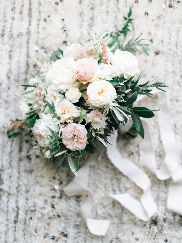Blush, Ivory, and Silver Bouquet | Troy Grover Photography | http://heyweddinglady.com/modern-war-and-peace-wedding-inspiration-blue-silver/