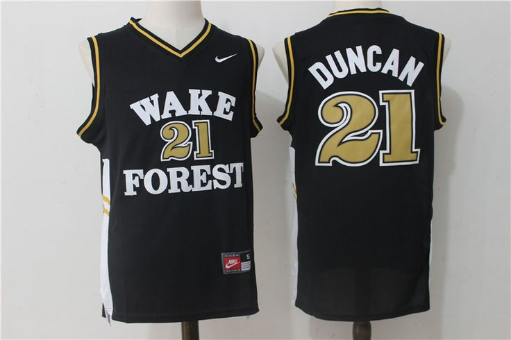 Wake Forest Demon Deacons 21 Tim Duncan Black College Jersey