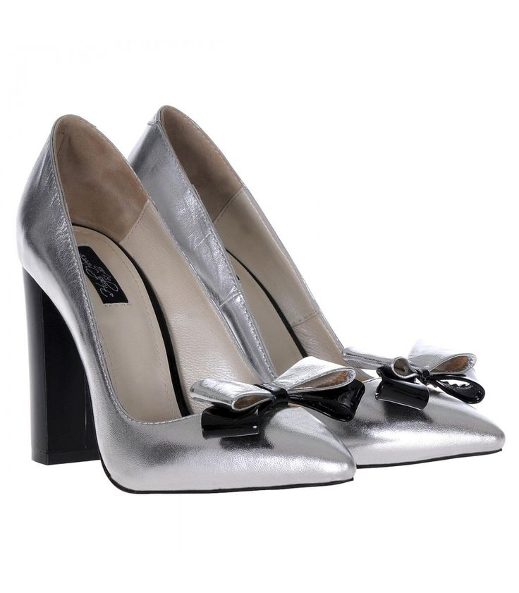 Pantofi Stiletto Cu Toc Gros Piele Naturala Argintie- Cod S358