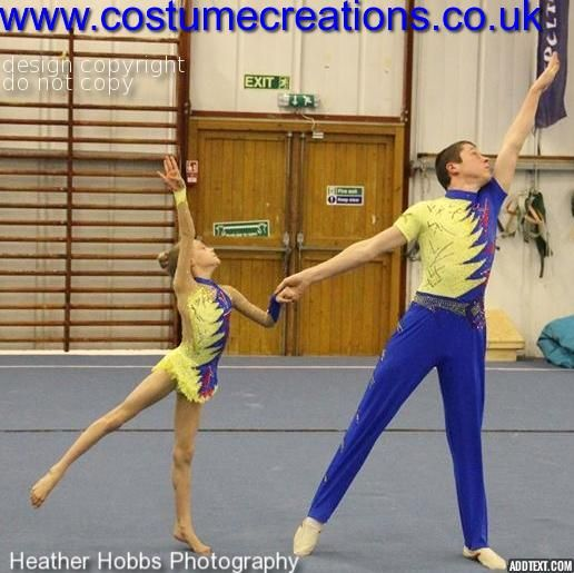 SPORTS ACROBATICS Mixed Pairs Costumes yellow/blue/red  for Spelthorne Gold Medallists
